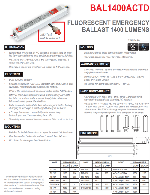BAL1400ACTD   1400 Lumen Emergency Fluorescent Ballast, AC Output with Time Delay