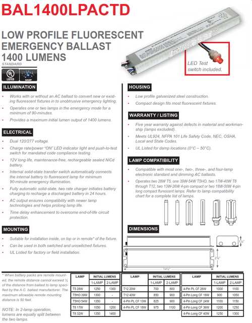 BAL1400LPACTD   1400 Lumen Emergency Fluorescent Ballast, AC Output with Time Delay