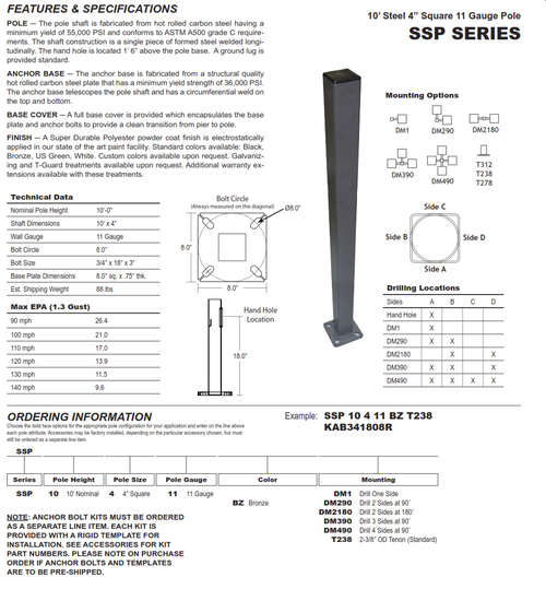 "SSP10-4-11   10' 4"" Square Steel Pole Light Pole"