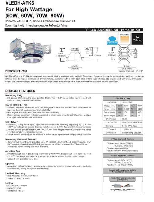 "6"" LED High Wattage Recessed Downlight-50, 60, 80 and 90 Watt"
