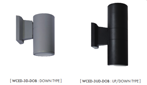 "The WCED 3"" Cylinders are Wet Location and IP65 rated for outdoor use. These wall mount cylinders come in two versions : down light and up & down light. The fixtures are offered in15W and 20W LED, DoB modules with a customized IC, highbred circuit on board with dimming down to 5% with most of Triac dimmers on the market. DOB, 120V AC Direct technology has low heat, great reliability and has been designed for these fixtures to operate environments between  -22˚ F to 104˚ F (-30˚C to 40˚C)"