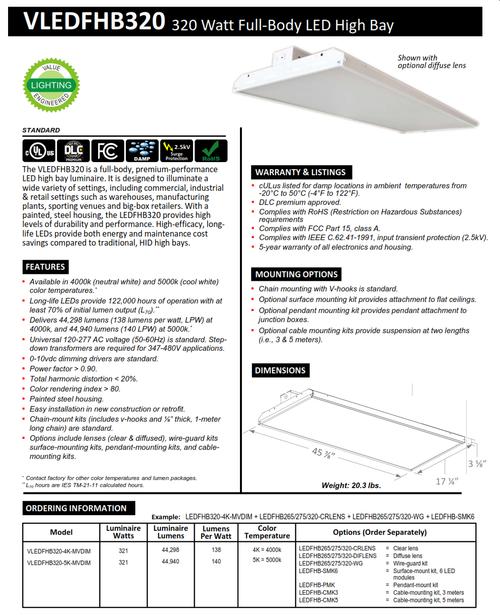 320 Watt Rectangular LED Full Body Highbay-44000 Lumens