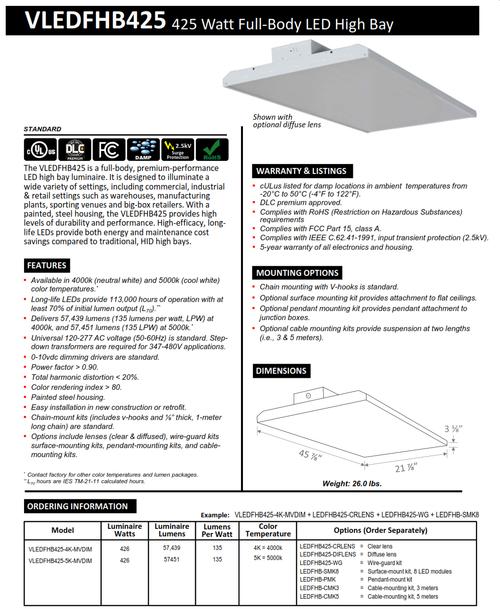 425 Watt Rectangular LED Full Body Highbay-57000 Lumens