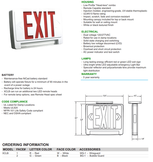 Lightbar Combination Exit/Emergency