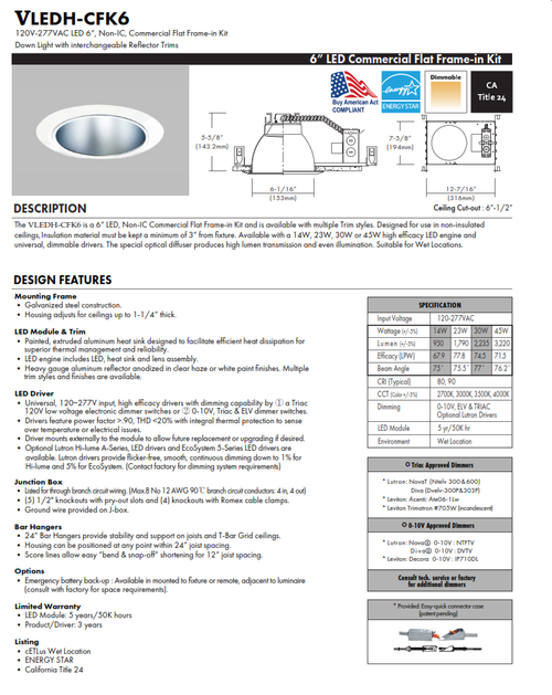 VLEDH-CFK6 LED Commercial Recessed Downlight