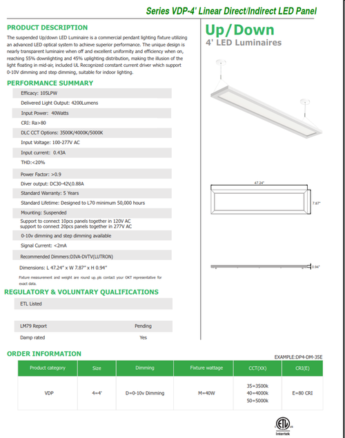 VDP4 4' LED Linear Direct/Indirect Pendant