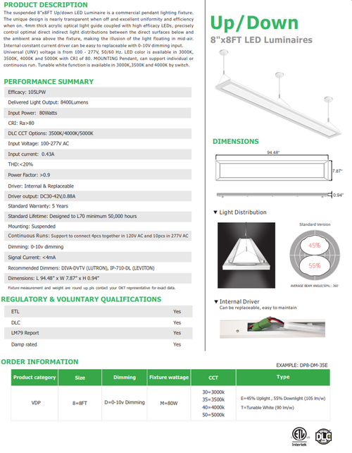 VDP8 8' LED Linear Direct/Indirect Pendant