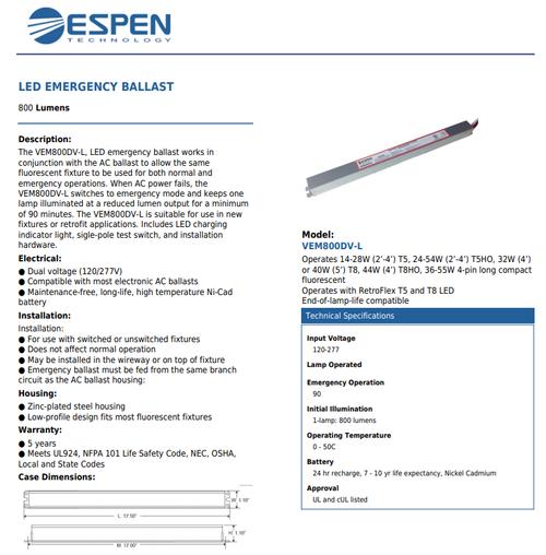 VEM800DV(L)  Emergency Ballast for Fluorescent & Retroflex and Retroflex HE, 1300lm, Dual Input (120/277V)