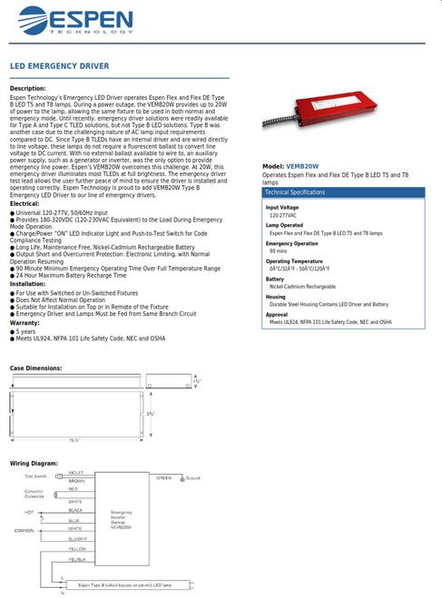 VEMB20W  Emergency LED Driver, Type B, 20W, 90 mins