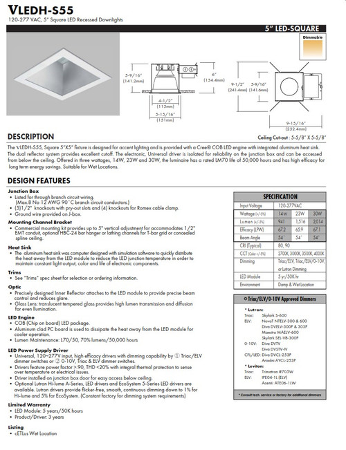 """5"""" Square LED Recessed Commercial Downlight"""