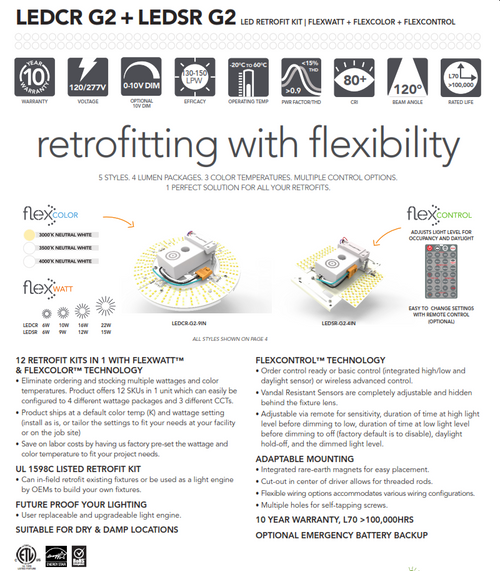 Light Efficient Design LEDCR and LEDSR-WALL AND CEILING RETROFIT KITS