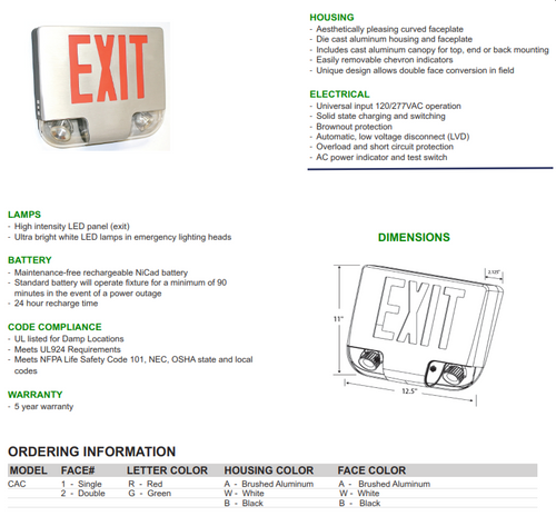 Diecast Aluminum Exit/Emergency Combination