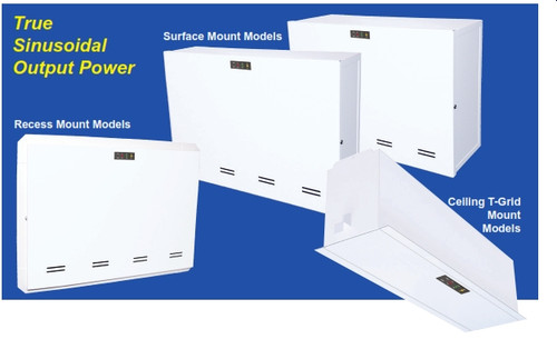 Mini-electrical inverter systems for powering up to - duction or LED lighting loads. Pulse width modulated (PWM) output design provides clean, 60 Hz. sinusoi- dal emergency power to loads. Models are available for surface, recessed or T-Grid mounting as required.