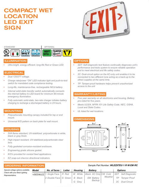 Compact Wet Location LED Exit sign