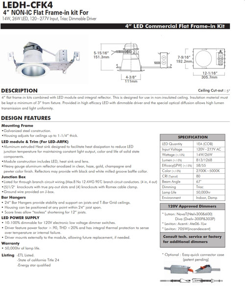 """LED-CFK4 4""""  LED Recessed Commercial Downlight"""