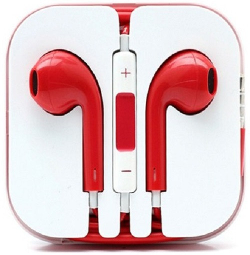 Earphone Earbud Headset Headphone Lot 50x pcs. Red Color/Barcode.