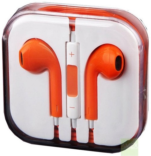 Earphone Earbud Headset Headphone Lot 10x pcs. ORANGE Color/Barcode.