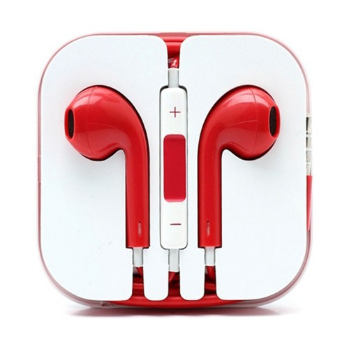 Earphone Earbud Headset Headphone 1 pcs. Red Color/Barcode.