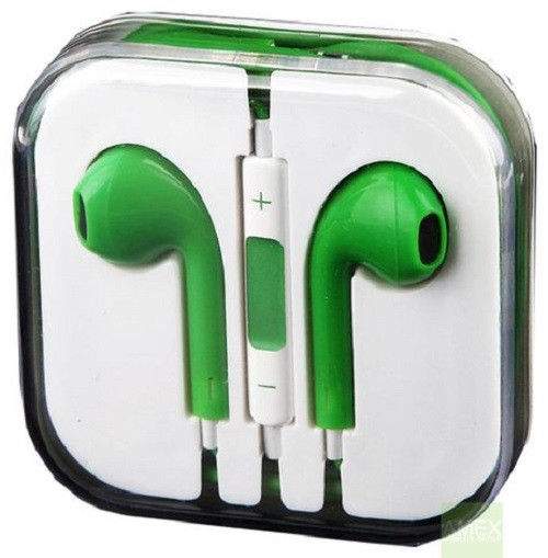 Earphone Earbud Headset Headphone 1 pcs. GREEN Color/Barcode.