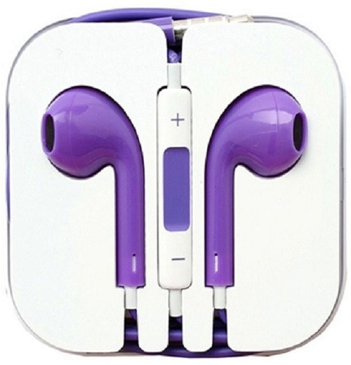 Earphone Earbud Headset Headphone 1 pcs. PURPLE Color/Barcode.
