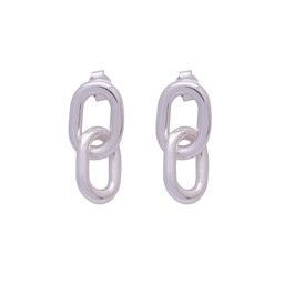 AMELIE SILVER DOUBLE HOOP EARRINGS