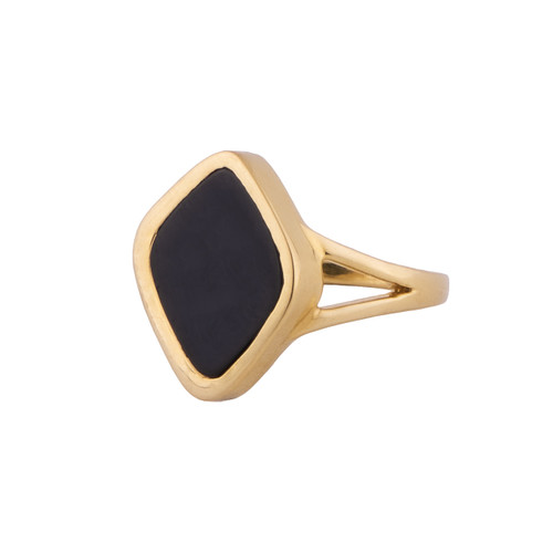 Gabriella - black onyx and gold signet ring by Irish jewellery designer Emma by Jane - designed in Dublin, Kildare, Ireland by Jane Asple