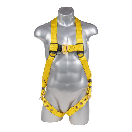 Construction Safety Harness 3 Point, Grommet Legs, Back D-Ring, Yellow