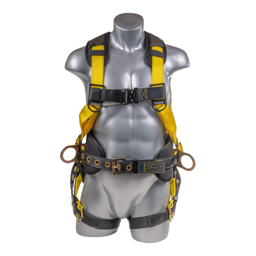 Construction Safety Harness 5 Point, Back Padded, QCB Chest, Grommet Legs, Back/Side D-Rings, Positioning Belt, Yellow
