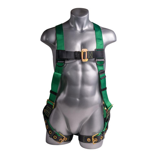 Construction Safety Harness 5 Point, Grommet Legs, Back D-Ring, Green