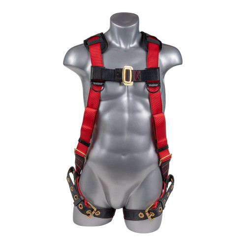 Construction Safety Harness 5 Point, Padded Back, Padded Grommet Legs, Back D-Ring, Red/Black