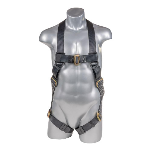 Construction Safety Harness 5 Point, Pass-Thru Legs, Back D-Ring, Black