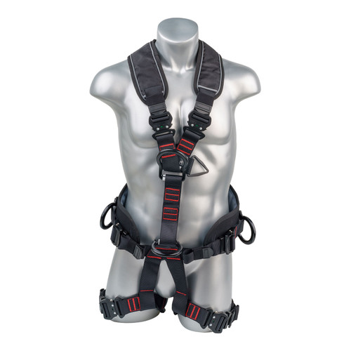 Construction Safety Harness 5 Point, QCB, Padded Back & Leg, Back/Side D-Rings, Positioning Belt, Dual Front D-Rings