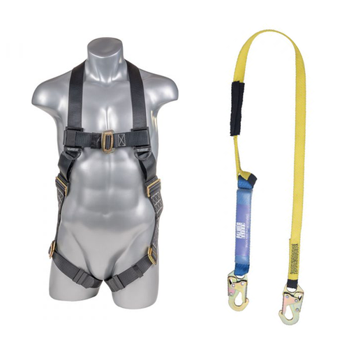 Full Protection 5pt. Body Harness and Lanyard Combo