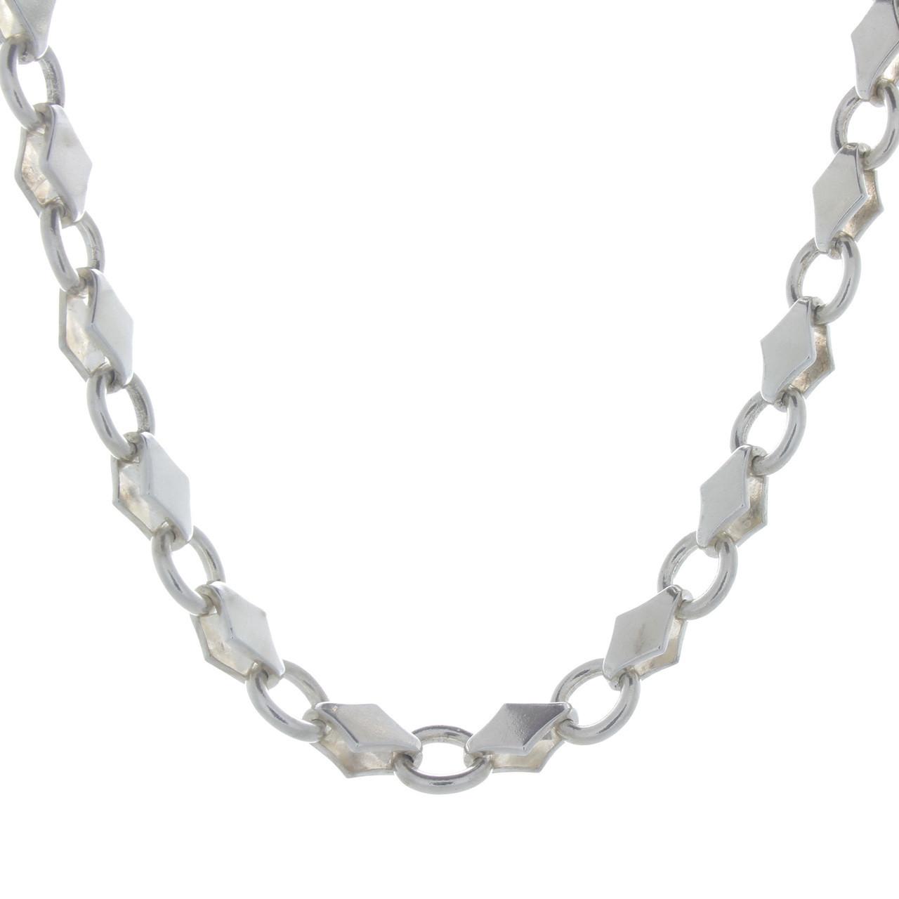 Vintage 925 Sterling Biker Diamond Link Necklace Heavy Link 19