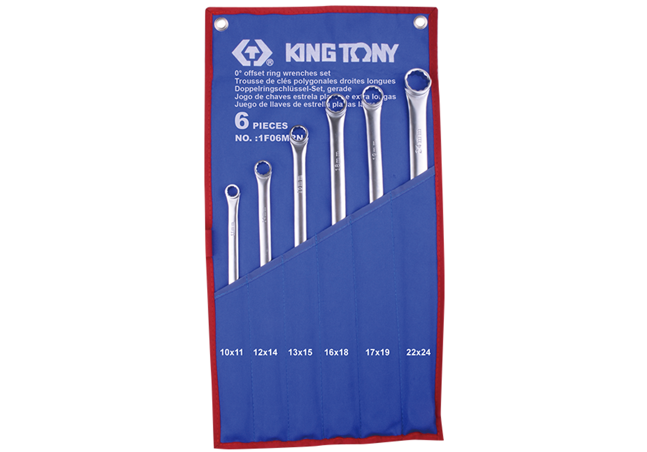 Spanner set 6pc Extra Long Box end Double ring KING TONY professional