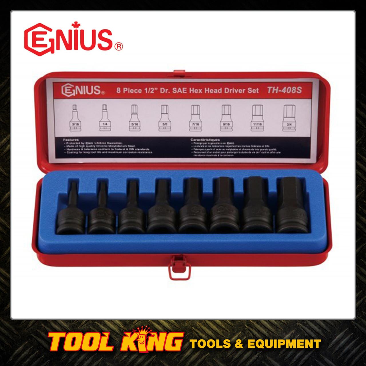 Genius 8pc INHEX Hex socket set Imperial