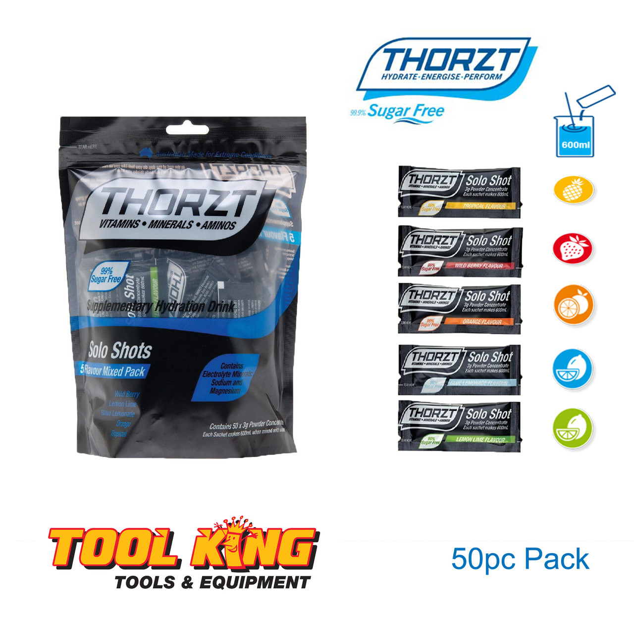 Thorzt SUGAR FREE Hydration Electrolite drink 50 mixed pack Ideal for tradies Mines and Sports