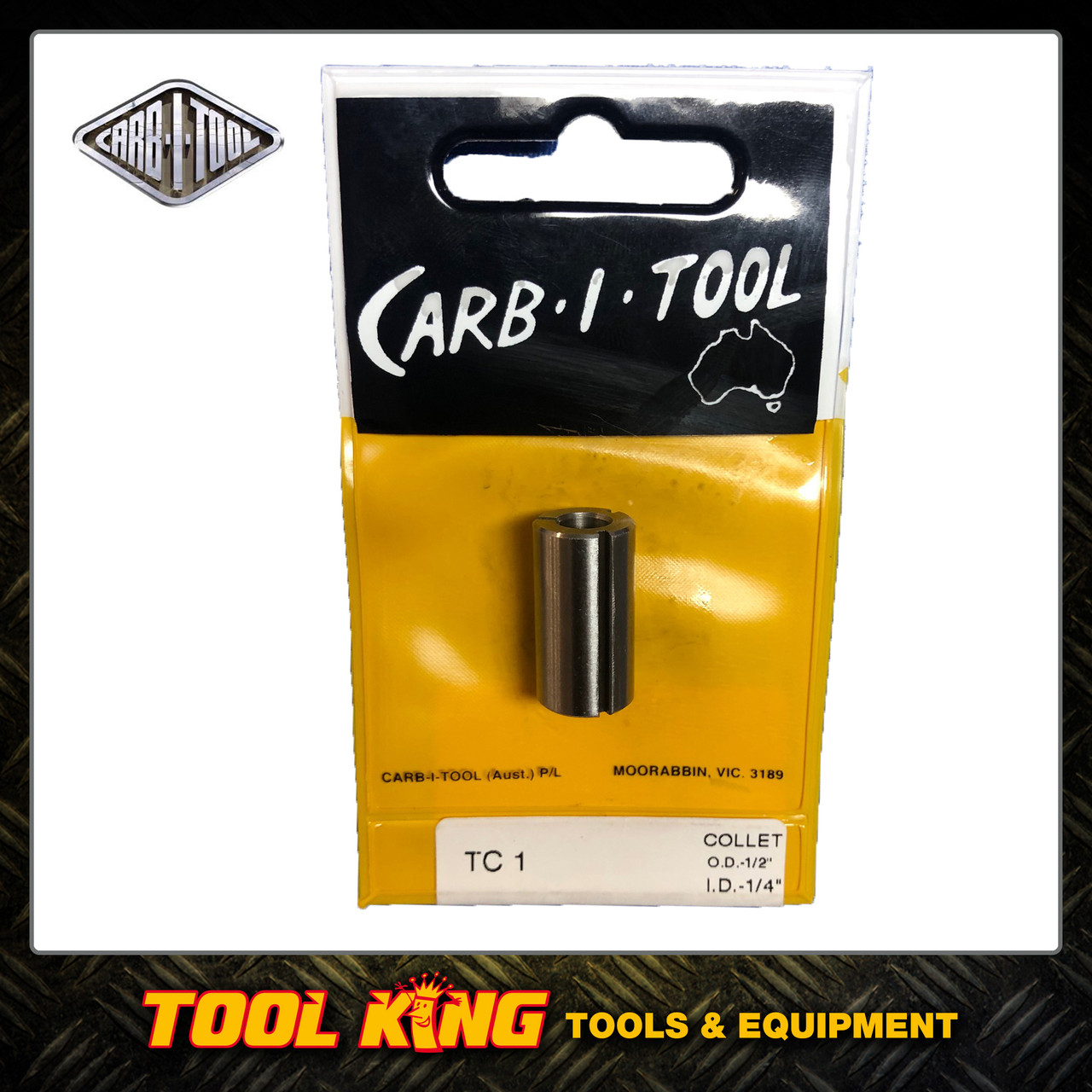 "Router bit  Straight Collet to suit  Hitachi & Makita routers TC1 ½"" – ¼"" CARBITOOL"