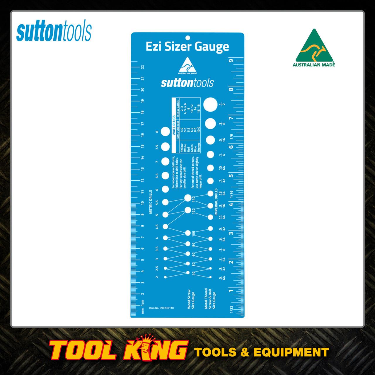 Sutton Ezi Sizer gauge ruler for bolts screw drills etc