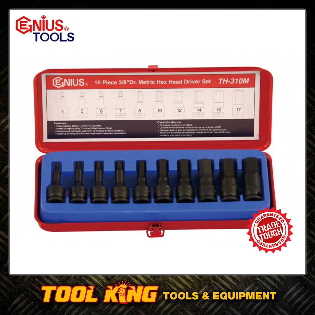 10pc IN HEX Hex bit socket set MET 3/8Dv Genius tools