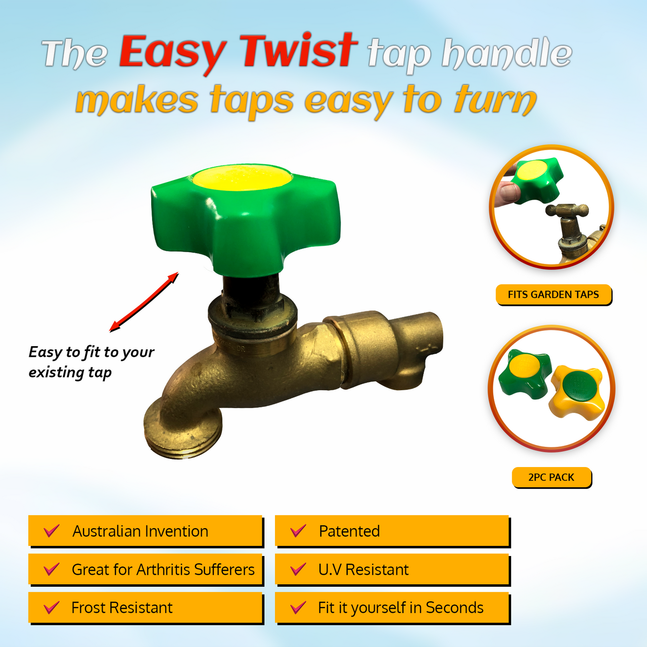 The EASY TWIST Tap Handle Great for arthritis sufferers