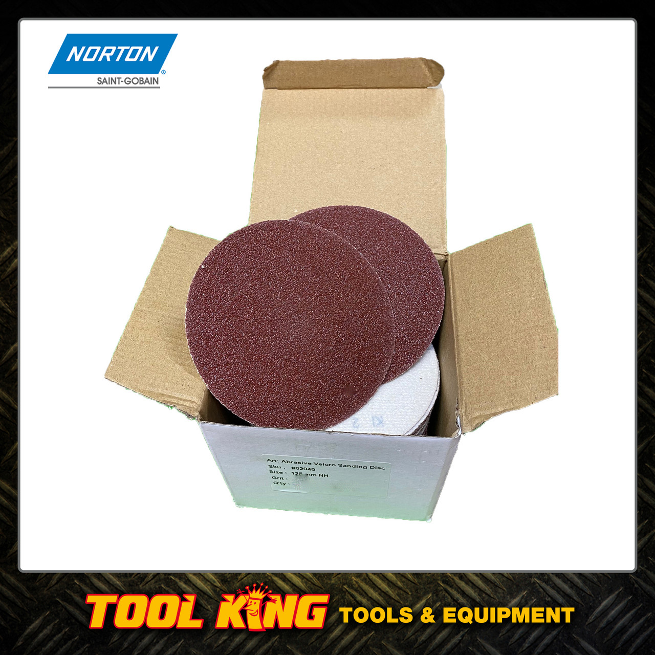 "125mm  sanding discs 5"" Box of 100 discs 60grit NORTON"