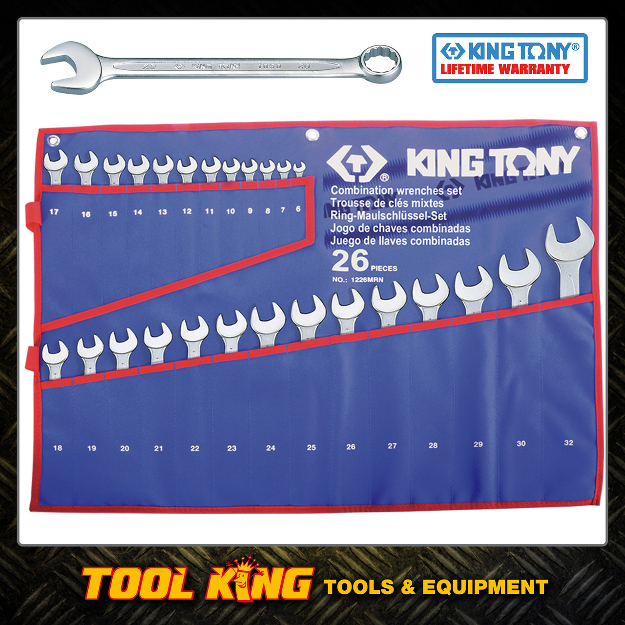 26pc Combination spanner set metric KING TONY professional
