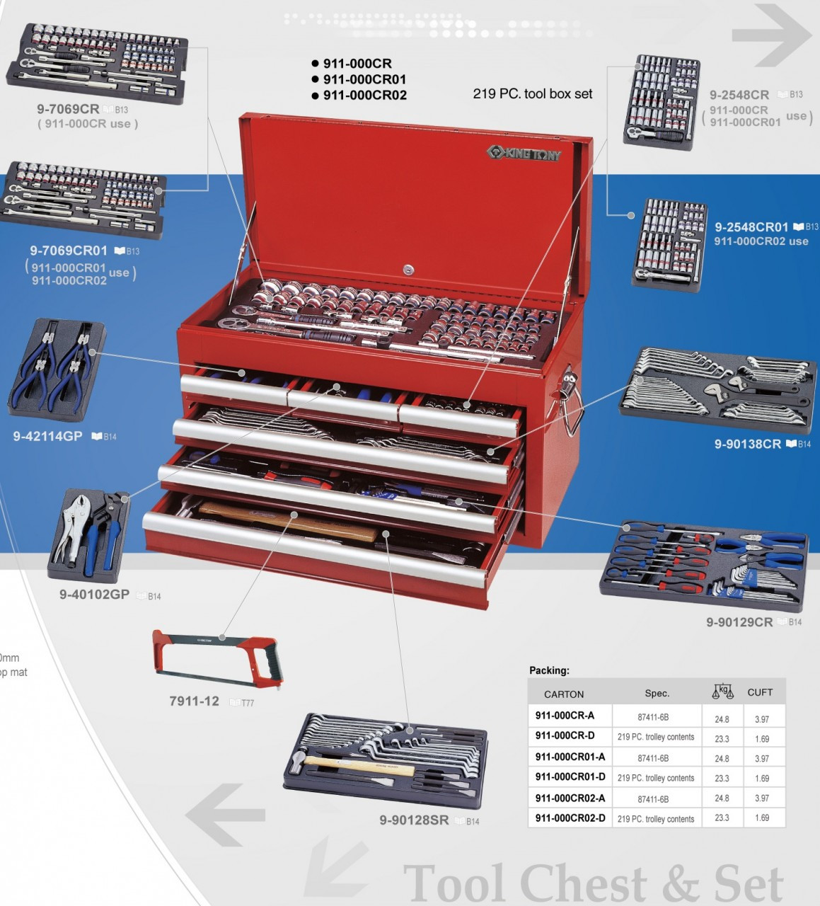 219pc Tool kiit with Chest Industrial Quality KING TONY
