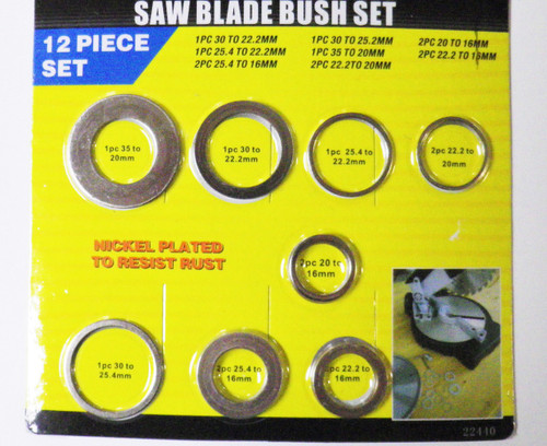 12pc Saw blade reducing bush set
