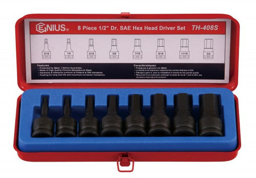 Genius 8pc INHEX Hex socket set Imperial