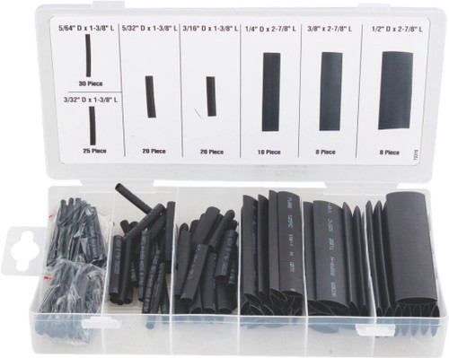 127pc Heatshrink tubing Black Assortment pack