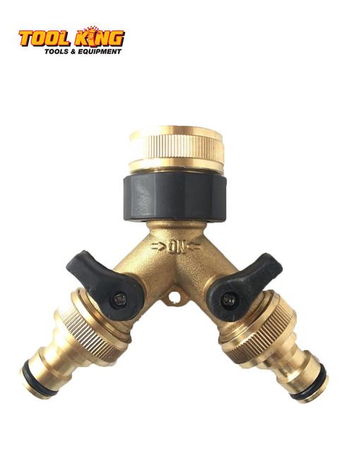 "Garden Tap 2 way Y splitter Brass to suit 1/2"" Garden hose"