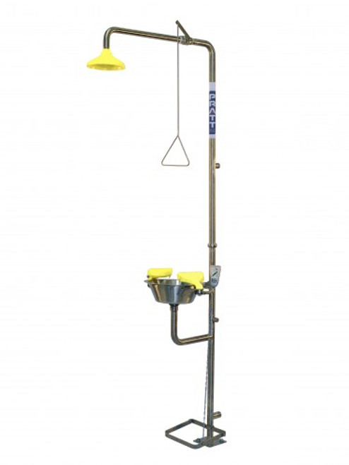 Combination emergency shower and eyewash station