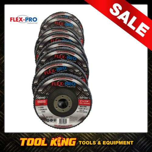 "Flap Disc x 10pc Industrial Grade 5"" 125mm 40g  FLEXPRO longlife"